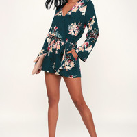 Where I Belong Teal Green Floral Print Long Sleeve Romper