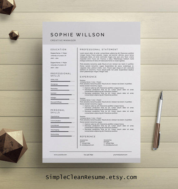 simple resume template clean cv design from simplecleanresume on