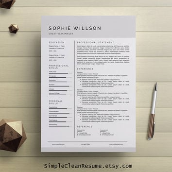 Simple Resume Template Clean CV Design Cover Letter MS Word Professional Modern Instant Digital Download