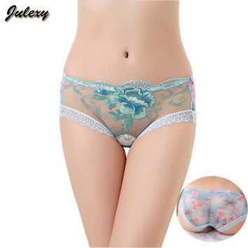 Julexy sexy Brand hollow out women embroidered panties