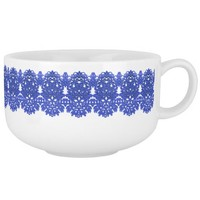 Openwork pattern in the style blue-chinoiserie soup mug
