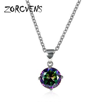 ZORCVENS Multicolor CZ Gem Pendant & Necklaces White Gold-color New Christmas Jewelry Top Quality Jewelry Wedding Necklace