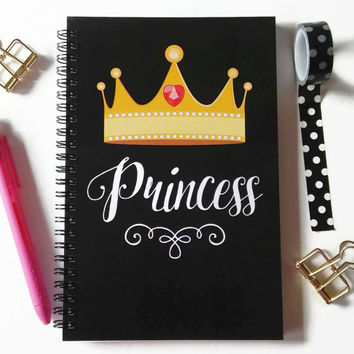 Writing journal, spiral notebook, bullet journal, sketchbook gift for her, cute journal, girls gift, gold crown, blank lined grid - Princess
