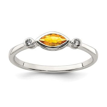 Sterling Silver Bezel Set Marquise Citrine And White Topaz Ring