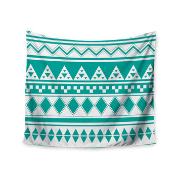 "Belinda Gilles ""Turquoise Aztec"" Teal Green Wall Tapestry"