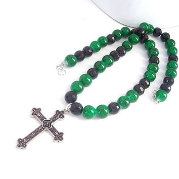 Christian Necklace For Women, Filigree Cross Necklace, Emerald Green and Black Jewelry, Christian Jewelry, Boho Cross Jewelry, Boho Necklace