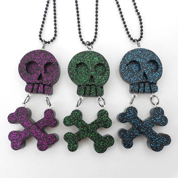Glitter Skull Crossbone Necklace, Goth, Pastel Goth, Kawaii, Alternative, Creepy Cute, Spooky