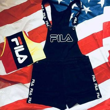 FILA Fashion Women Romper Jumpsuit Pants Shorts