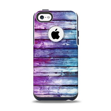 The Pink & Blue Dyed Wood Apple iPhone 5c Otterbox Commuter Case Skin Set
