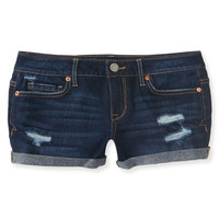 Destroyed Dark Wash Denim Shorty Shorts -