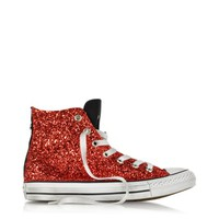 Converse Limited Edition Designer Shoes All Star Hi Black Canvas w/Red Glitter LTD Sneaker