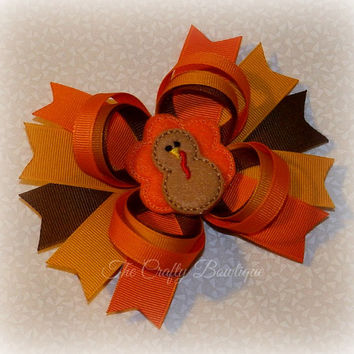 Turkey Loopy Bow ~ Fancy Thanksgiving Bow ~ Thanksgiving Hair Bow ~ Large Thanksgiving Bow ~ Turkey Hair Bow ~ Spiked Thanksgiving Bow