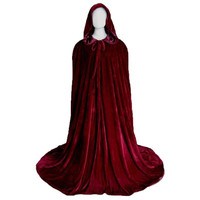 Medieval Halloween Fancy Dress Costume Adult Red Hooded Long Cloak Wedding Cape (Color: Red) = 1932268420