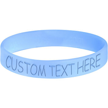Custom Light Blue Silicone Personalized Message Bracelet