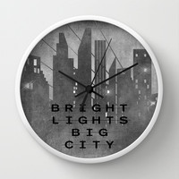 Bright Lights Big City Wall Clock by Ally Coxon