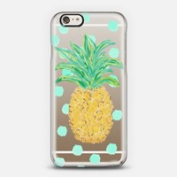Pineapple and Aqua Dots - Transparent/Clear background iPhone 6 case by Lisa Argyropoulos | Casetify