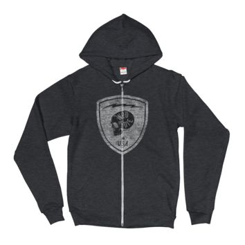 Skull Patch Hoodie (HEATHER or NAVY)