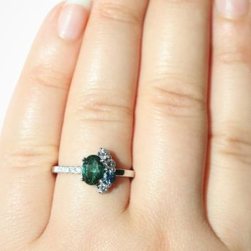 Tourmaline Cluster Engagement Ring, One of a Kind Asymmetric unique ring With Oval Seafoam Green Tourmaline and Gray Diamonds, OOAK ring