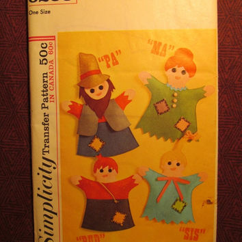 SALE Uncut 1960's Simplicity Transfer Pattern, 6253! Tranfer for hand puppets/Pa/Ma/Sis/Bud/Hillbilly Puppets/Arts & Crafts/Kids Art Project