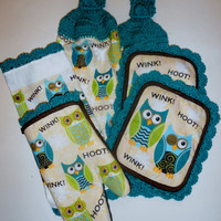 Owl Kitchen Towel Set, Retro Kitchen, Hanging Towels, Oven Mitt, Pot Holders