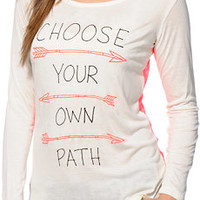 Empyre Girls Susan Choose Your Path White & Coral Lace Top