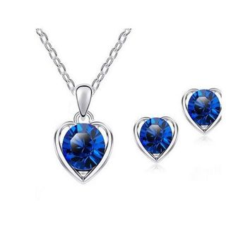 Silver Plated Heart Necklace Earrings Jewelry Sets