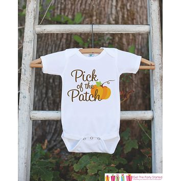 Pick of The Patch - Kids Fall Outfit - Pumpkin Onepiece or Tshirt - Cutest Pumpkin in the Patch - Baby Girl Fall Outfit - Autumn Shirt