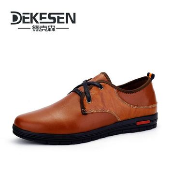 DEKESEN Brand Size 37-48 Handmade Genuine leather Shoes for Man, Soft Sneakers mens Moccasins, High Men Business Flats Shoes