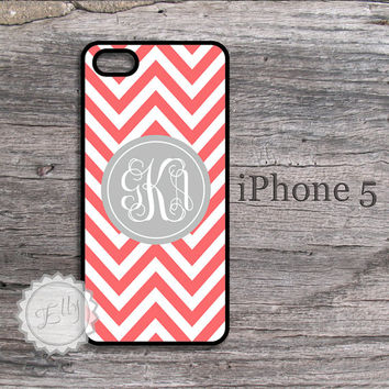 Iphone 5S case - Soft grey fancy cursive monogram on coral chevron , iphone cover , snap on iphone 5C case , monogrammed case