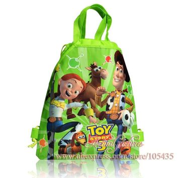 12Pcs Toy Story Cartoon Drawstring Backpack Kids School Shoppping Party Bags,Children Bags,34*27CM,Non Woven,Party Gift