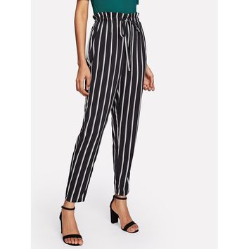 Black And White High Waist Striped Tapered Carrot Long Pant