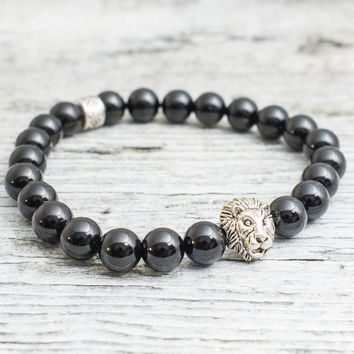 Black onyx stone beaded silver Lion head stretchy bracelet, made to order yoga bracelet, mens bracelet, womens bracelet