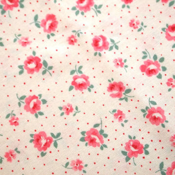 Floral Fabric, Japanese YUWA Atsuko Matsuyama floral with pin dots fabric on a white background, old new 30s collection (2014)