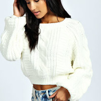 Amy Cocoon Sleeve Crop Cable Knit Jumper