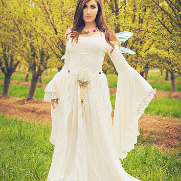 Gwendolyn Medieval or Renaissance Fairy Wedding Gown Velvet and Lace Custom