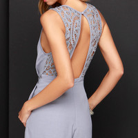 She's a Beauty Grey Lace Romper