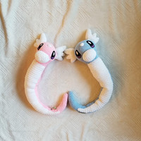 Pokemon Inspired: Dratini Amigurumi (crochet plush / stuffed toy) - Shiny or Normal Coloring - Fully Posable - 2ft Long - MADE TO ORDER!
