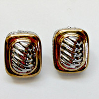 vintage retro earring studs gold and silver tone antique earrings mid century pierced earrings gold silver mod