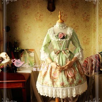 ac NOOW2 Royal Spring of Europa Series Printed Lolita JSK Three Quarter Sleeve Square Neck Lolita Dress by Magic Tea Party