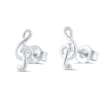 Sterling Silver G-clef Music Note Stud Earrings - 11mm