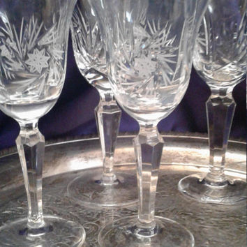 Leaded Cut Glass Crystal Wine Goblets, Anna Hutte Hobstar Swirled Pinwheel, Prism Cut Stems, Elegant German Fine Crystal, Set of Five