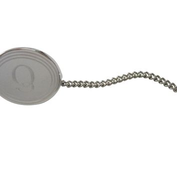 Silver Toned Etched Oval Letter Q Monogram Tie Tack