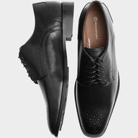 ROCKPORT BLACK PERFORATED TOE DRESS SHOES