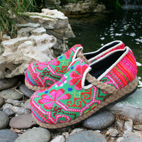 Vegan Womens Shoes, Colorful Hmong Embroidered Loafers - Casey