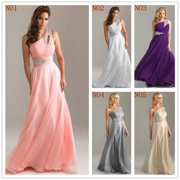 one shoulder prom dress, affordable prom dress, long prom dresses, sleeveless Evening Dress / beads Party Dress / formal dress / long bridemaids dress = 1956816388
