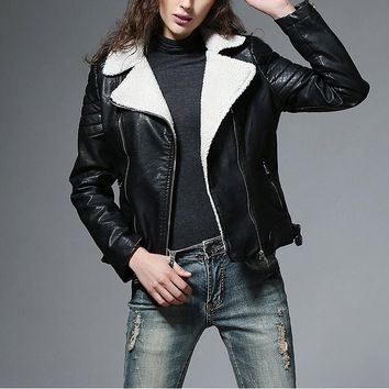 Faux Lambs Wool Collar Faux Leather Jacket
