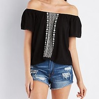 CROCHET-TRIM EMBROIDERED TOP