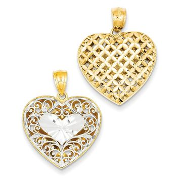 14k Two-tone Gold Filigree & Basket Weave Reversible Heart Pendant