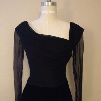 Vintage Oscar De La Renta Black Silk & Velvet Dress