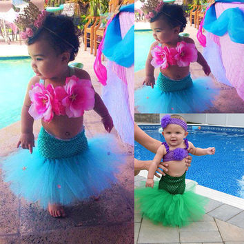 Lovely Baby Girl Little Mermaid Dress Tutu Skirt Tulle Costume Outfit Photo Prop
